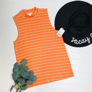 Glitz Tangerine Striped Mock Neck Tank Top